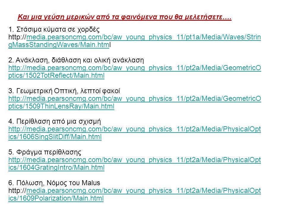 Και μια γεύση μερικών από τα φαινόμενα που θα μελετήσετε…. 1. Στάσιμα κύματα σε χορδές http://media.pearsoncmg.com/bc/aw_young_physics_11/pt1a/Media/W