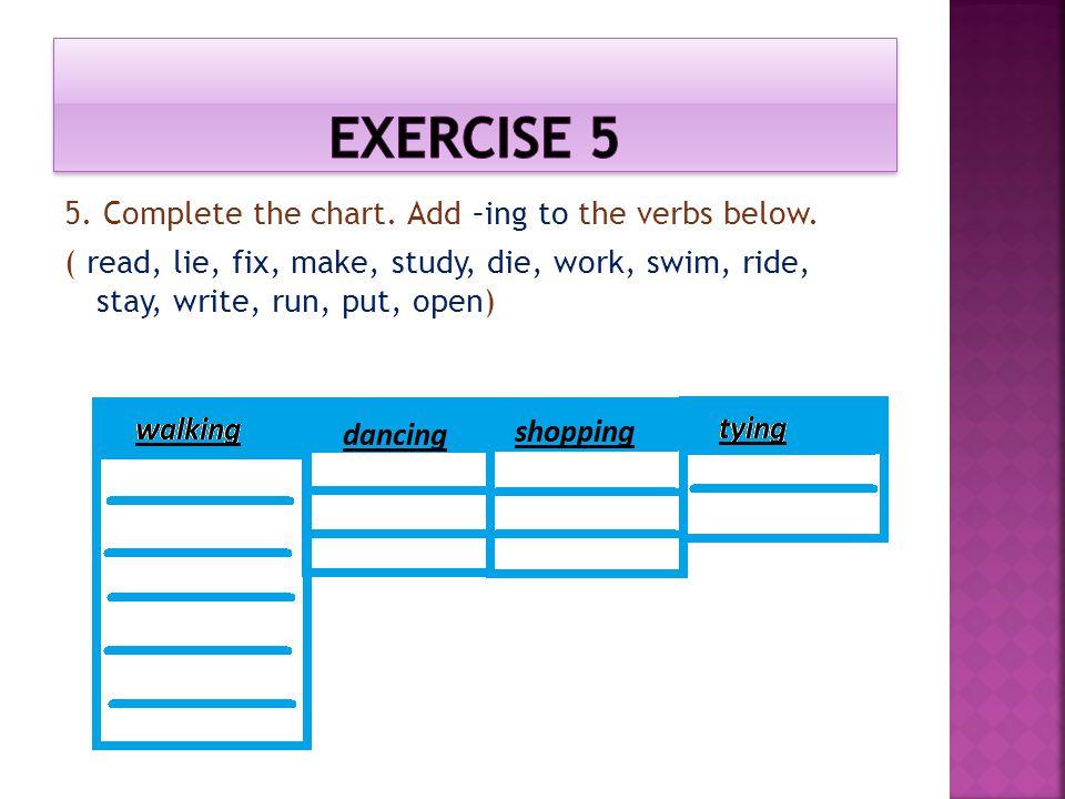 5. Complete the chart. Add –ing to the verbs below. ( read, lie, fix, make, study, die, work, swim, ride, stay, write, run, put, open)