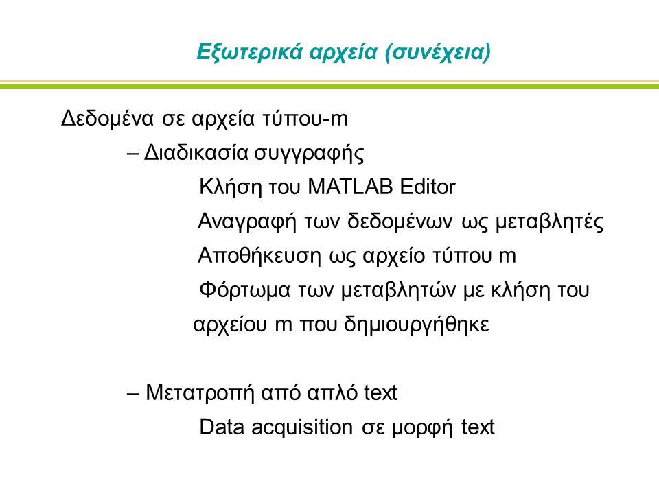 Δεδομένα σε αρχεία τύπου-m – Διαδικασία συγγραφής Κλήση του MATLAB Editor Αναγραφή των δεδομένων ως μεταβλητές Αποθήκευση ως αρχείο τύπου m Φόρτωμα των μεταβλητών με κλήση του αρχείου m που δημιουργήθηκε – Μετατροπή από απλό text Data acquisition σε μορφή text Εξωτερικά αρχεία (συνέχεια)