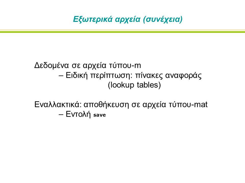 Δεδομένα σε αρχεία τύπου-m – Ειδική περίπτωση: πίνακες αναφοράς (lookup tables) Εναλλακτικά: αποθήκευση σε αρχεία τύπου-mat – Εντολή save Εξωτερικά αρχεία (συνέχεια)