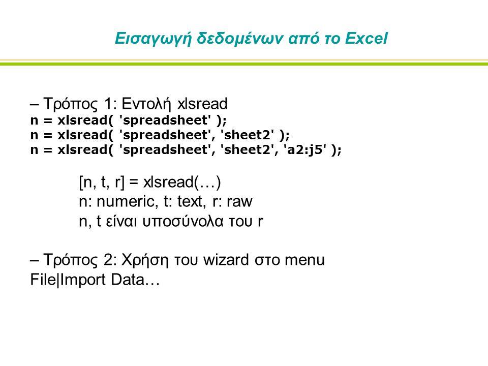 – Τρόπος 1: Εντολή xlsread n = xlsread( spreadsheet ); n = xlsread( spreadsheet , sheet2 ); n = xlsread( spreadsheet , sheet2 , a2:j5 ); [n, t, r] = xlsread(…) n: numeric, t: text, r: raw n, t είναι υποσύνολα του r – Τρόπος 2: Χρήση του wizard στο menu File|Import Data… Εισαγωγή δεδομένων από το Excel