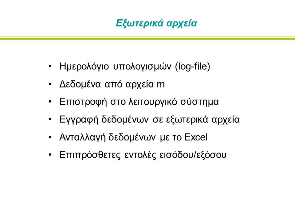 Εξωτερικά αρχεία Ημερολόγιο υπολογισμών (log-file) Δεδομένα από αρχεία m Επιστροφή στο λειτουργικό σύστημα Εγγραφή δεδομένων σε εξωτερικά αρχεία Ανταλλαγή δεδομένων με το Excel Επιπρόσθετες εντολές εισόδου/εξόσου