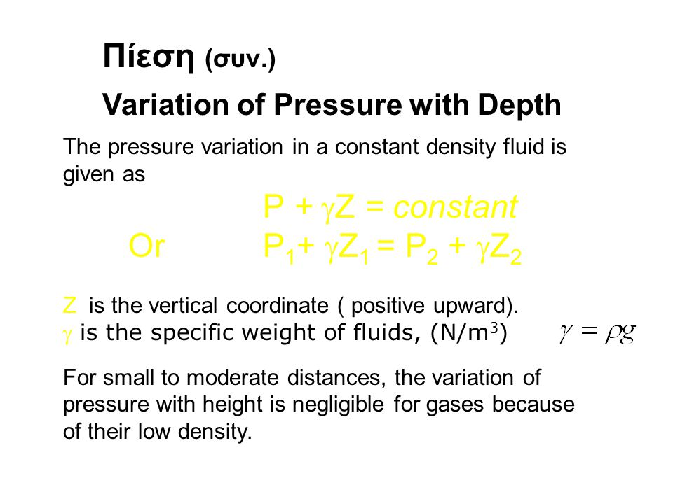 Πίεση (συν.) Variation of Pressure with Depth The pressure variation in a constant density fluid is given as P +  Z = constant Or P 1 +  Z 1 = P 2 +