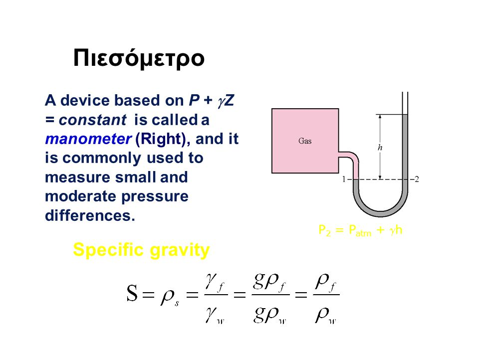 Πιεσόμετρο A device based on P +  Z = constant is called a manometer (Right), and it is commonly used to measure small and moderate pressure differen