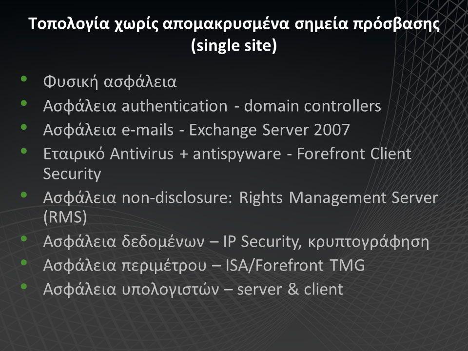 Τοπολογία χωρίς απομακρυσμένα σημεία πρόσβασης (single site) Φυσική ασφάλεια Ασφάλεια authentication - domain controllers Ασφάλεια e-mails - Exchange
