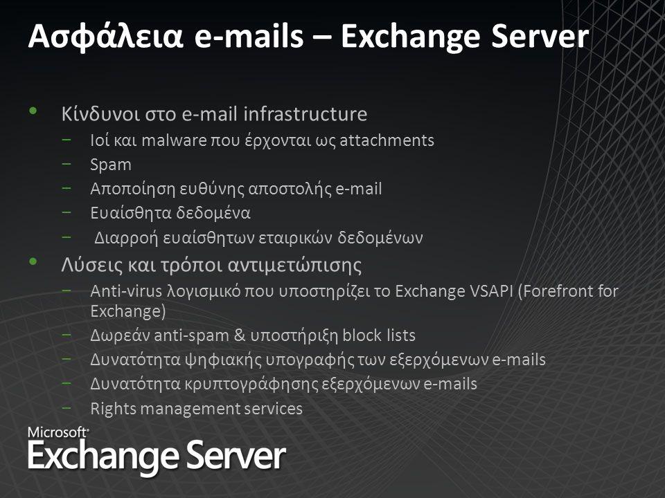 Ασφάλεια e-mails – Exchange Server Κίνδυνοι στo e-mail infrastructure −Ιοί και malware που έρχονται ως attachments −Spam −Αποποίηση ευθύνης αποστολής