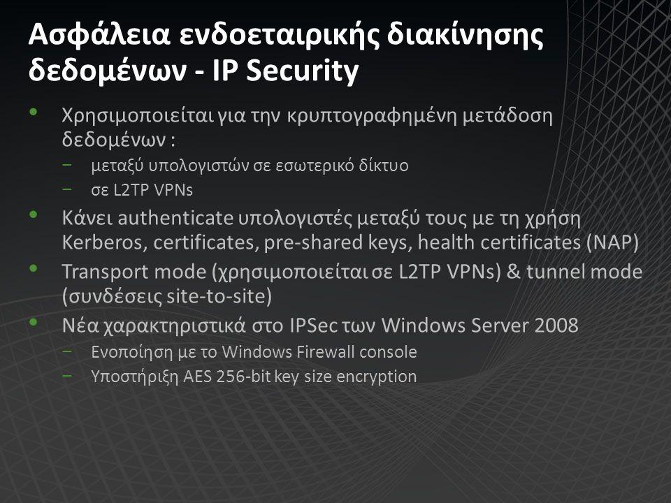 Ασφάλεια ενδοεταιρικής διακίνησης δεδομένων - IP Security Χρησιμοποιείται για την κρυπτογραφημένη μετάδοση δεδομένων : −μεταξύ υπολογιστών σε εσωτερικ