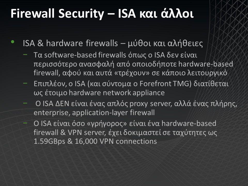 Firewall Security – ISA και άλλοι ISA & hardware firewalls – μύθοι και αλήθειες −Τα software-based firewalls όπως ο ISA δεν είναι περισσότερο ανασφαλή