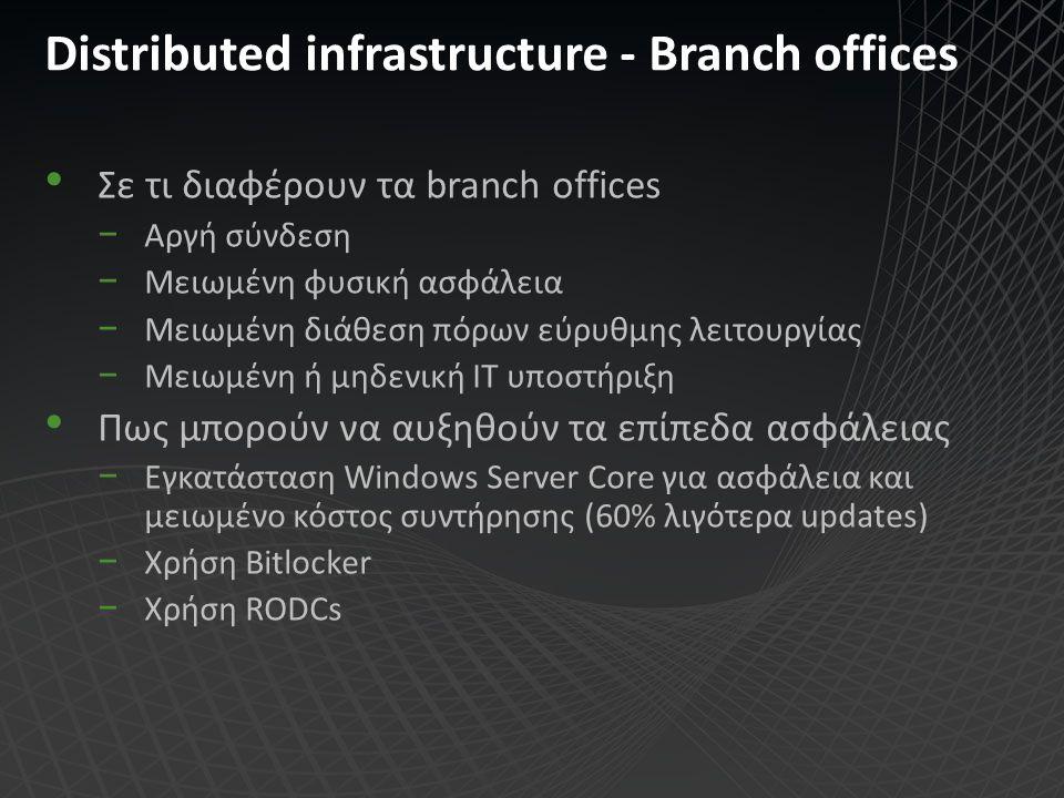 Distributed infrastructure - Βranch offices Σε τι διαφέρουν τα branch offices −Αργή σύνδεση −Μειωμένη φυσική ασφάλεια −Μειωμένη διάθεση πόρων εύρυθμης