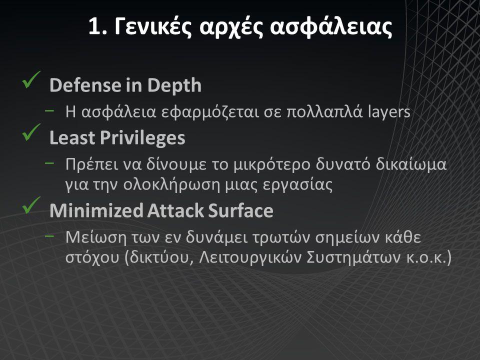 1. Γενικές αρχές ασφάλειας Defense in Depth −Η ασφάλεια εφαρμόζεται σε πολλαπλά layers Least Privileges −Πρέπει να δίνουμε το μικρότερο δυνατό δικαίωμ