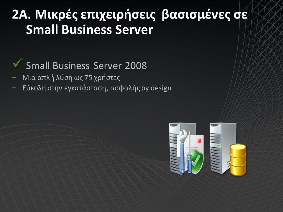Small Business Server Ένας Server για όλες τις υπηρεσίες Domain controller, Exchange Server, SQL Server σε ξεχωριστό server (premium edition) Secure by design (SBS 2008) Εύκολη, κεντρική διαχείριση ασφάλειας (SBS 2008) Active Directory Domain Controller
