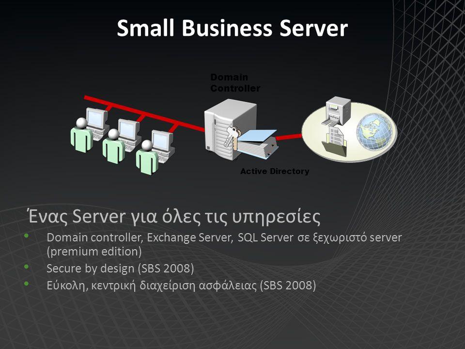Ασφάλεια στο Small Business Server 2008 Διαδικασίες και λύσεις ασφάλειας στον SBS 2008 Εύκολο και ασφαλές backup – εξωτερικά USB drives Δυνατότητα ασφάλειας των υπολογιστών και του SBS με το προαιρετικό Forefront Client Security (antivirus + antimalware) Forefront for Exchange (προαιρετικά) WSUS (Windows Server Update Services) για client updates