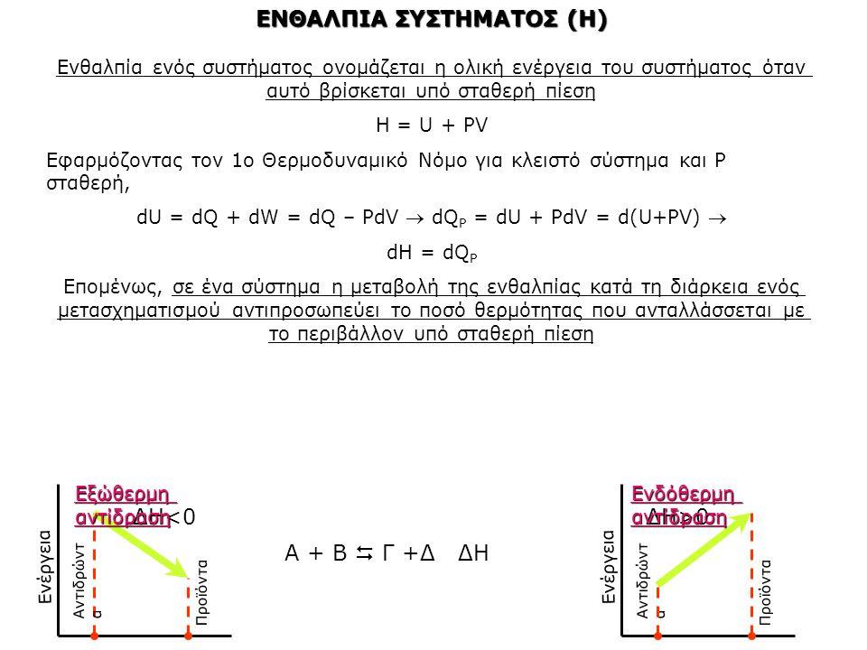 ΕΝΘΑΛΠΙΑ ΣΥΣΤΗΜΑΤΟΣ (H) Ενθαλπία ενός συστήματος ονομάζεται η ολική ενέργεια του συστήματος όταν αυτό βρίσκεται υπό σταθερή πίεση Η = U + PV Εφαρμόζον