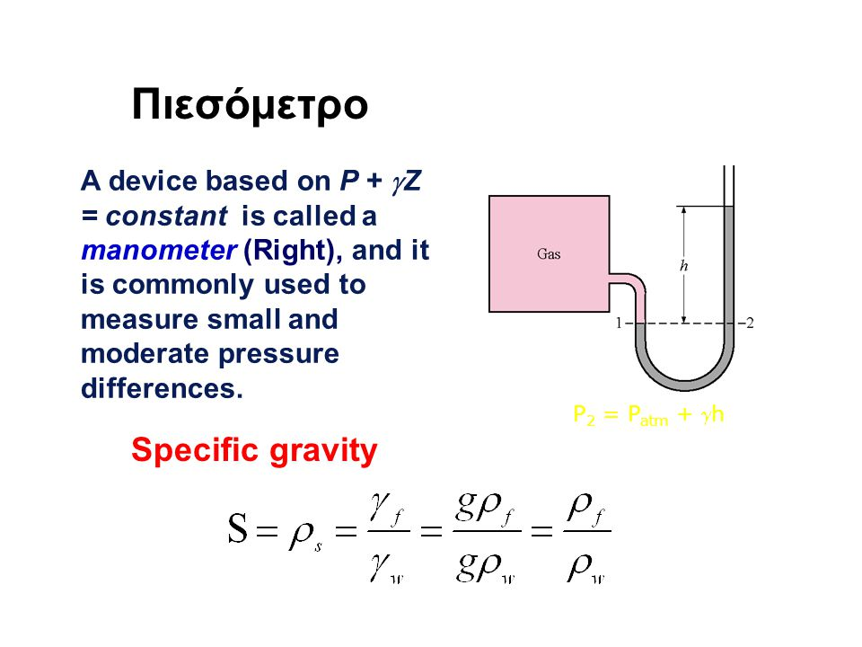 Πιεσόμετρο A device based on P +  Z = constant is called a manometer (Right), and it is commonly used to measure small and moderate pressure differences.