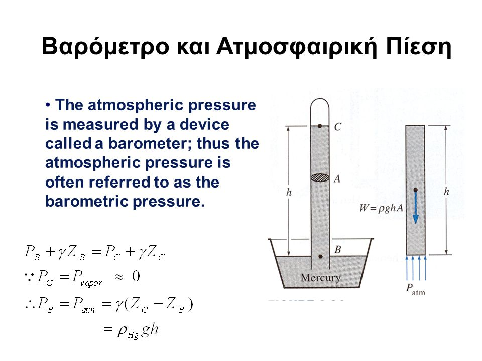Βαρόμετρο και Ατμοσφαιρική Πίεση The atmospheric pressure is measured by a device called a barometer; thus the atmospheric pressure is often referred to as the barometric pressure.