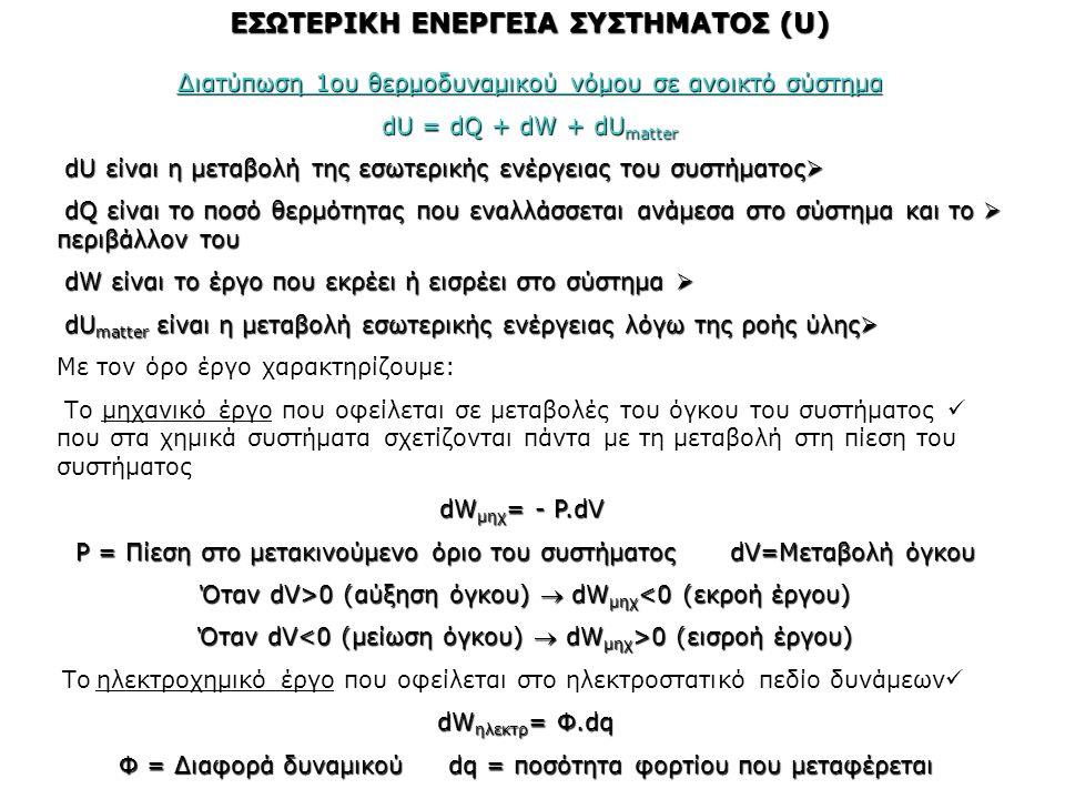 ΕΣΩΤΕΡΙΚΗ ΕΝΕΡΓΕΙΑ ΣΥΣΤΗΜΑΤΟΣ (U) Διατύπωση 1ου θερμοδυναμικού νόμου σε ανοικτό σύστημα dU = dQ + dW + dU matter  dU είναι η μεταβολή της εσωτερικής