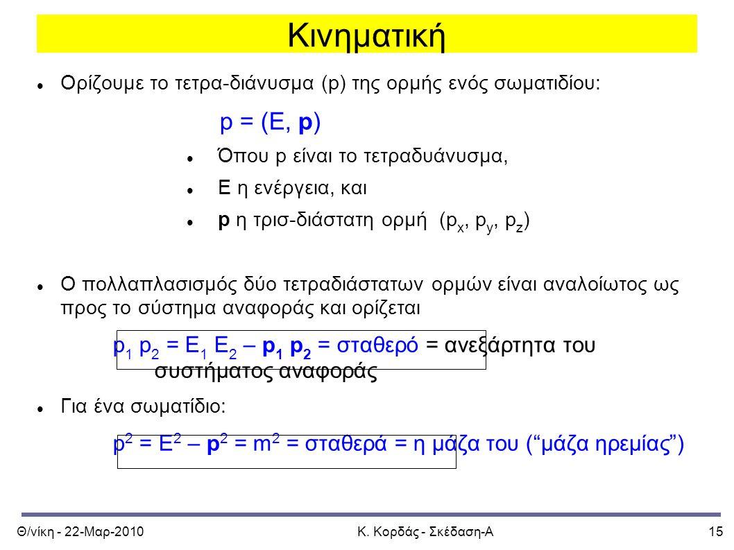 Θ/νίκη - 22-Μαρ-2010Κ. Κορδάς - Σκέδαση-Α15 Κινηματική Ορίζουμε το τετρα-διάνυσμα (p) της ορμής ενός σωματιδίου: p = (E, p) Όπου p είναι το τετραδυάνυ
