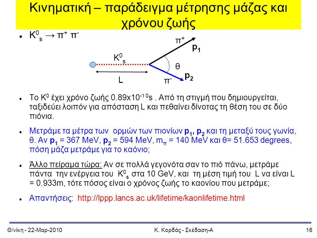 Θ/νίκη - 22-Μαρ-2010Κ. Κορδάς - Σκέδαση-Α16 Κινηματική – παράδειγμα μέτρησης μάζας και χρόνου ζωής Κ 0 s → π + π - Το Κ 0 έχει χρόνο ζωής 0.89x10 -1 0