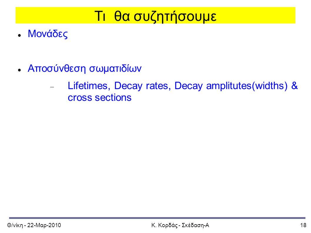 Θ/νίκη - 22-Μαρ-2010Κ. Κορδάς - Σκέδαση-Α18 Τι θα συζητήσουμε Μονάδες Αποσύνθεση σωματιδίων  Lifetimes, Decay rates, Decay amplitutes(widths) & cross