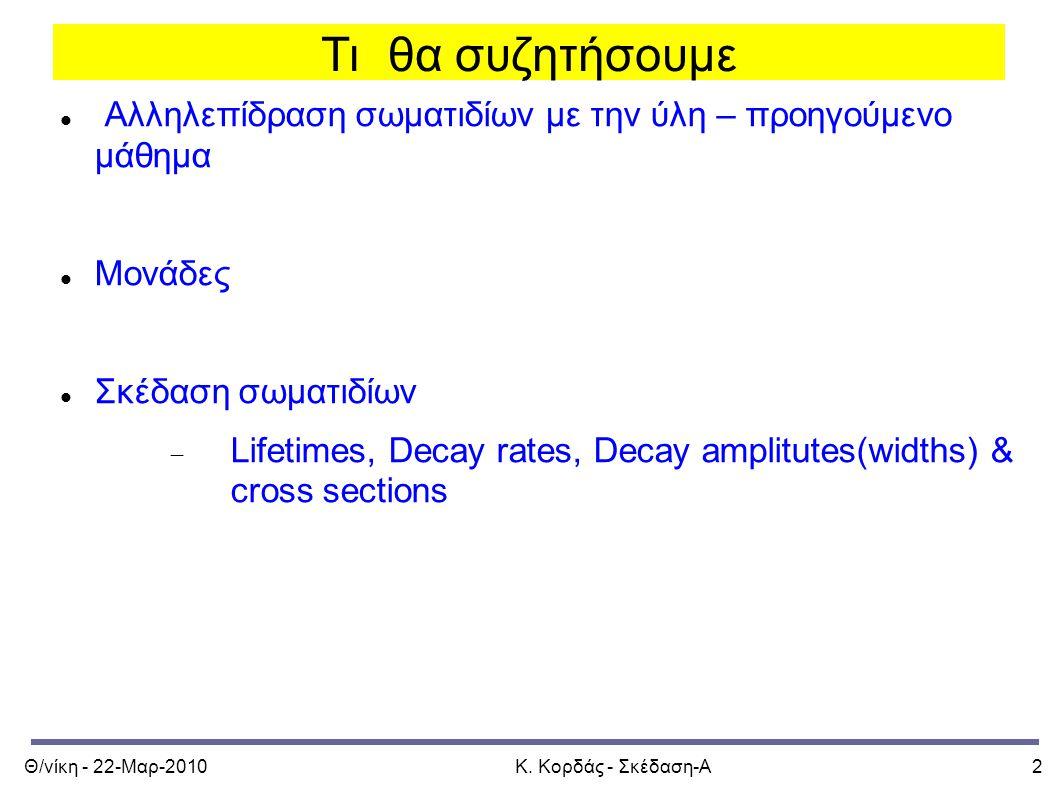 Θ/νίκη - 22-Μαρ-2010Κ. Κορδάς - Σκέδαση-Α2 Τι θα συζητήσουμε Αλληλεπίδραση σωματιδίων με την ύλη – προηγούμενο μάθημα Μονάδες Σκέδαση σωματιδίων  Lif