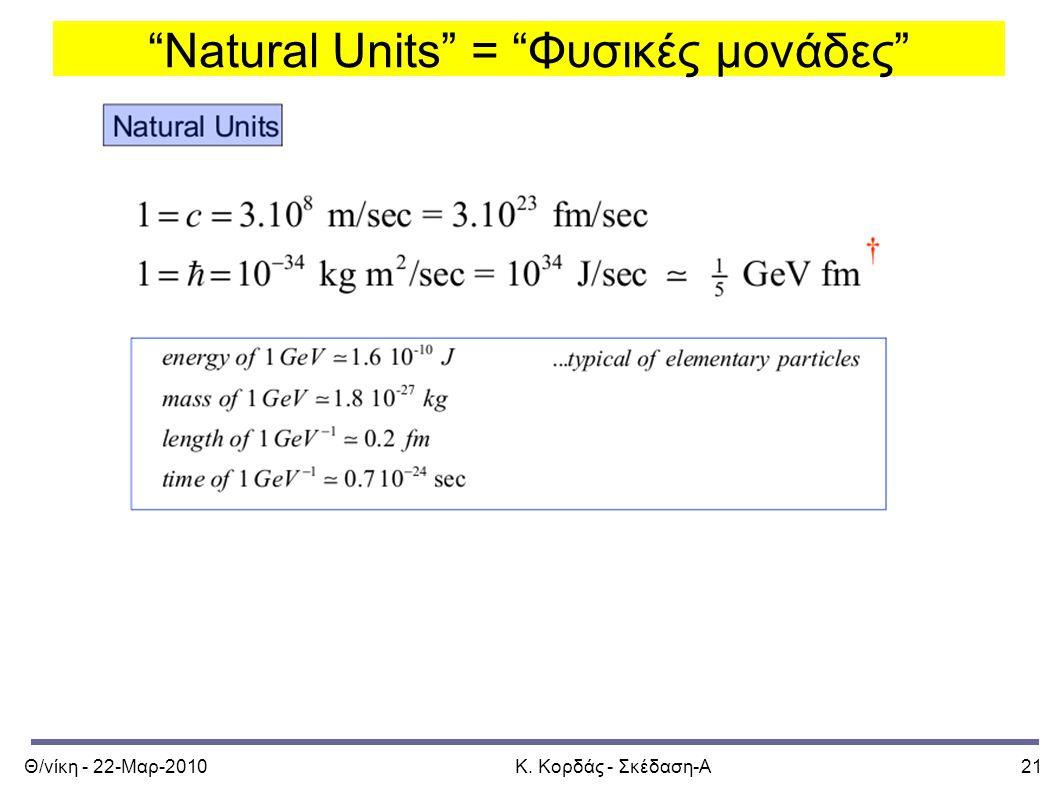 """Θ/νίκη - 22-Μαρ-2010Κ. Κορδάς - Σκέδαση-Α21 """"Natural Units"""" = """"Φυσικές μονάδες"""""""