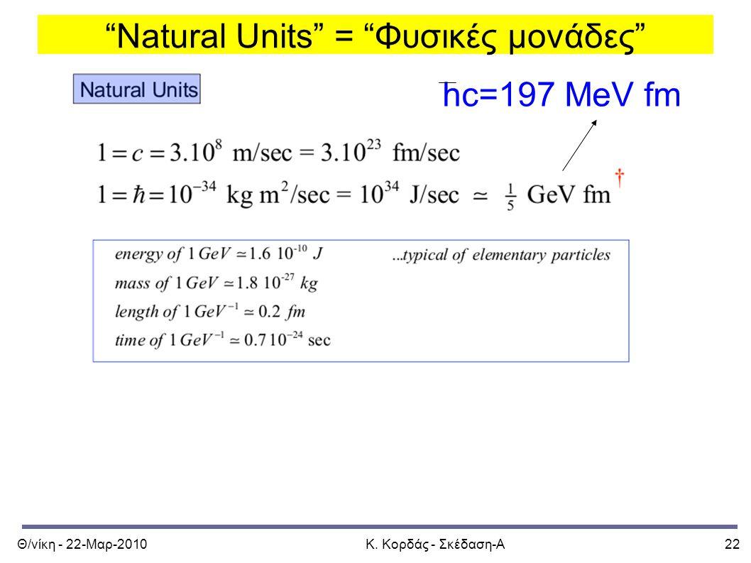 """Θ/νίκη - 22-Μαρ-2010Κ. Κορδάς - Σκέδαση-Α22 """"Natural Units"""" = """"Φυσικές μονάδες"""" hc=197 MeV fm"""