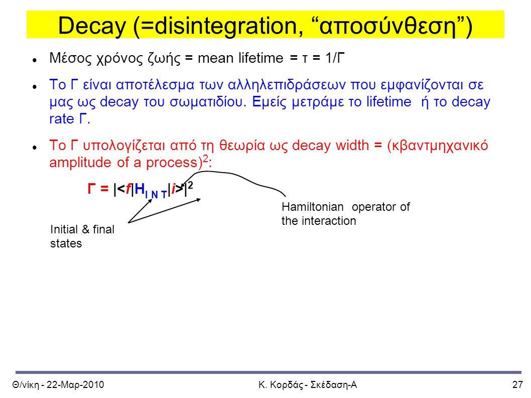 """Θ/νίκη - 22-Μαρ-2010Κ. Κορδάς - Σκέδαση-Α27 Decay (=disintegration, """"αποσύνθεση"""") Μέσος χρόνος ζωής = mean lifetime = τ = 1/Γ Το Γ είναι αποτέλεσμα τω"""