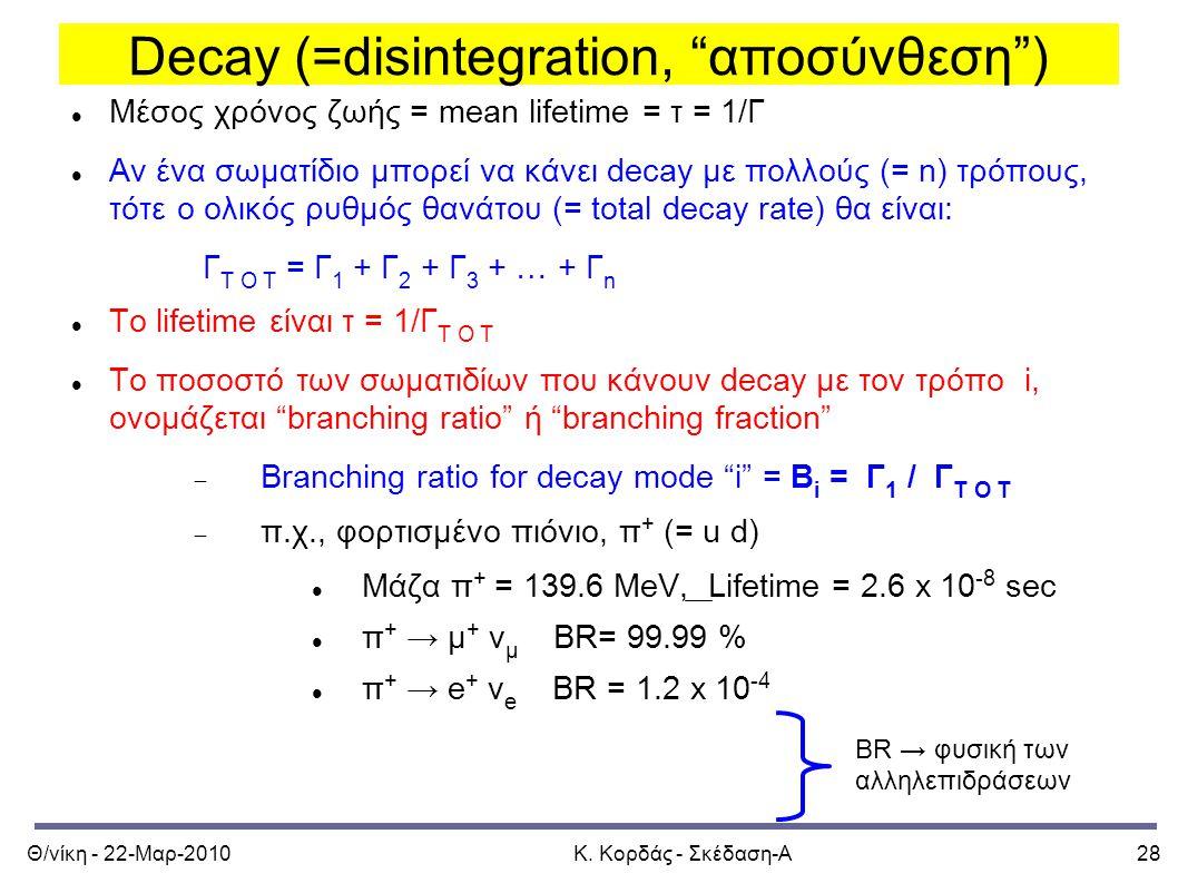 """Θ/νίκη - 22-Μαρ-2010Κ. Κορδάς - Σκέδαση-Α28 Decay (=disintegration, """"αποσύνθεση"""") Μέσος χρόνος ζωής = mean lifetime = τ = 1/Γ Αν ένα σωματίδιο μπορεί"""