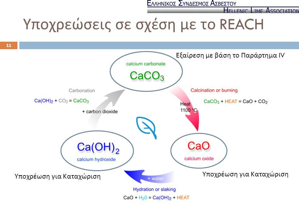Υποχρεώσεις σε σχέση με το REACH Εξαίρεση με βάση το Παράρτημα IV Υποχρέωση για Καταχώριση 11