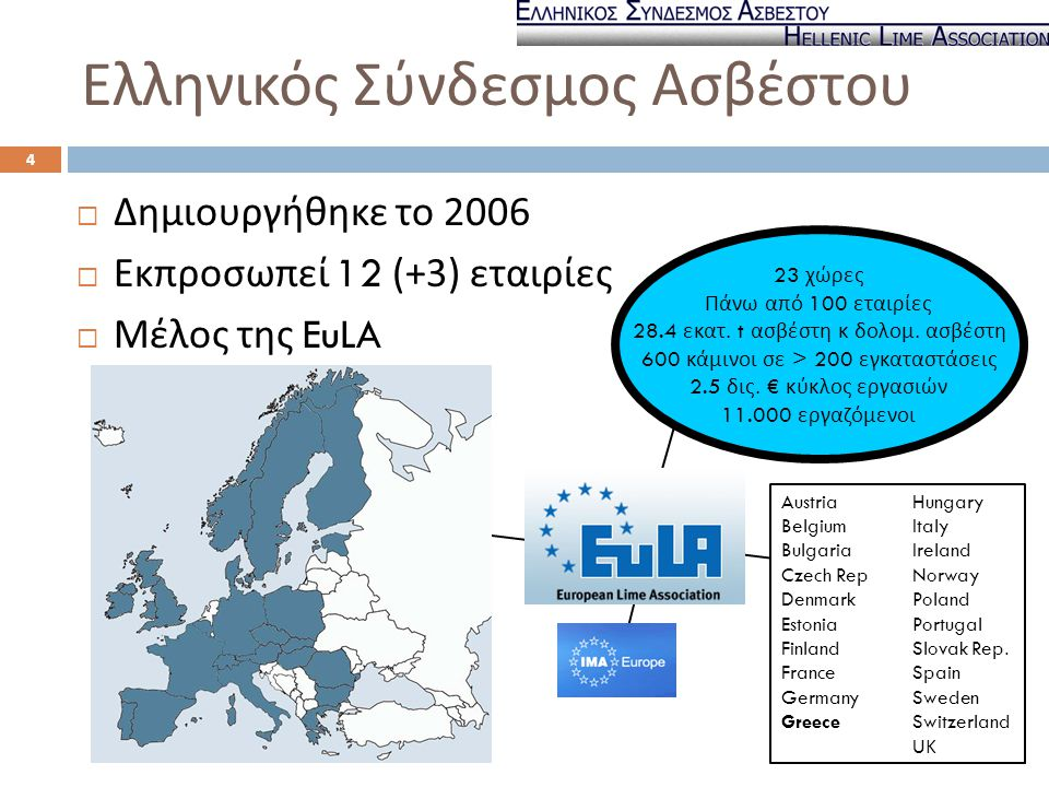 Ελληνικός Σύνδεσμος Ασβέστου  Δημιουργήθηκε το 2006  Εκπροσωπεί 12 (+3) εταιρίες  Μέλος της EuLA 23 χώρες Πάνω από 100 εταιρίες 28.4 εκατ. t ασβέστ