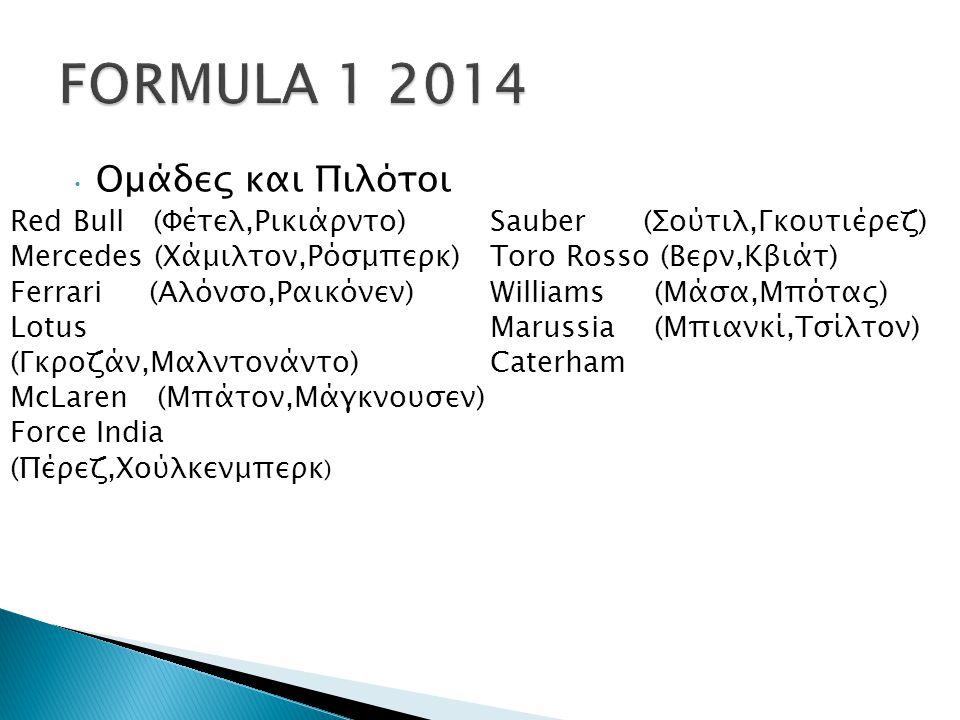 Ομάδες και Πιλότοι Sauber (Σούτιλ,Γκουτιέρεζ) Toro Rosso (Βερν,Κβιάτ) Williams (Μάσα,Μπότας) Marussia (Μπιανκί,Τσίλτον) Caterham Red Bull (Φέτελ,Ρικιάρντο) Mercedes (Χάμιλτον,Ρόσμπερκ) Ferrari (Αλόνσο,Ραικόνεν) Lotus (Γκροζάν,Μαλντονάντο) McLaren (Μπάτον,Μάγκνουσεν) Force India (Πέρεζ,Χούλκενμπερκ )