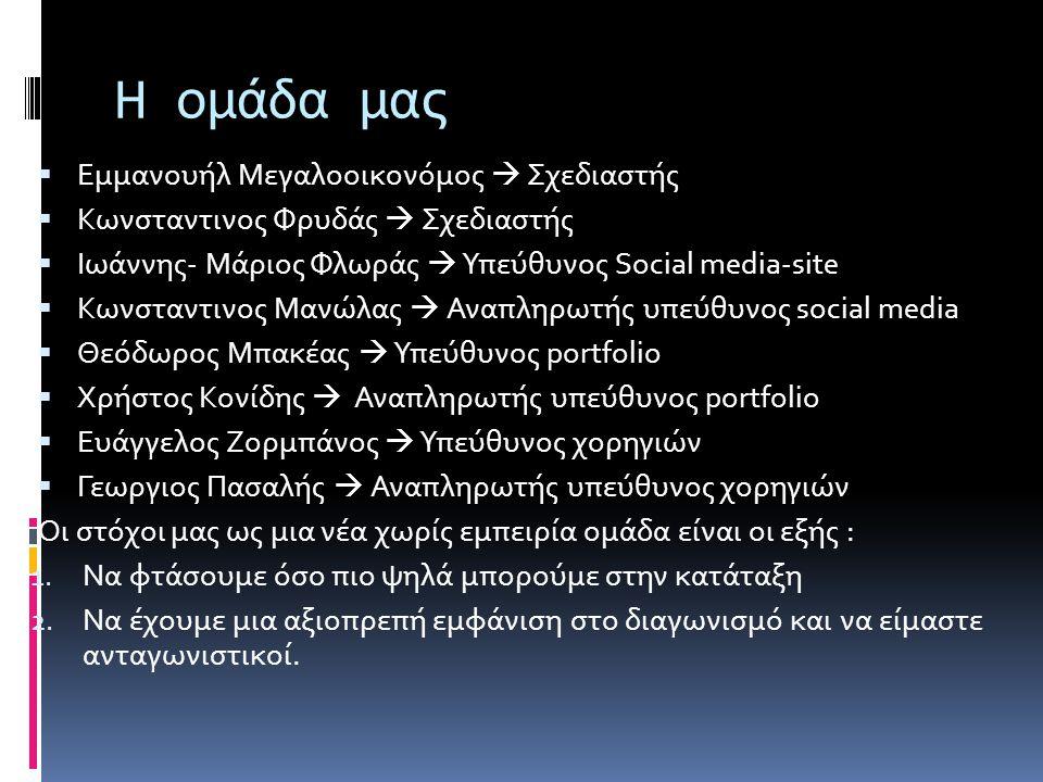Η ομάδα μας  Εμμανουήλ Μεγαλοοικονόμος  Σχεδιαστής  Κωνσταντινος Φρυδάς  Σχεδιαστής  Ιωάννης- Μάριος Φλωράς  Υπεύθυνος Social media-site  Κωνσταντινος Μανώλας  Αναπληρωτής υπεύθυνος social media  Θεόδωρος Μπακέας  Υπεύθυνος portfolio  Χρήστος Κονίδης  Αναπληρωτής υπεύθυνος portfolio  Ευάγγελος Ζορμπάνος  Υπεύθυνος χορηγιών  Γεωργιος Πασαλής  Αναπληρωτής υπεύθυνος χορηγιών Οι στόχοι μας ως μια νέα χωρίς εμπειρία ομάδα είναι οι εξής : 1.