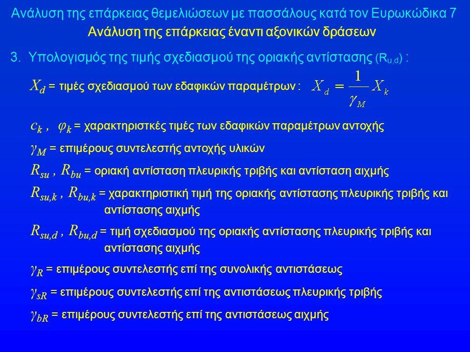 Ανάλυση της επάρκειας θεμελιώσεων με πασσάλους κατά τον Ευρωκώδικα 7 Ανάλυση της επάρκειας έναντι αξονικών δράσεων X d = τιμές σχεδιασμού των εδαφικών