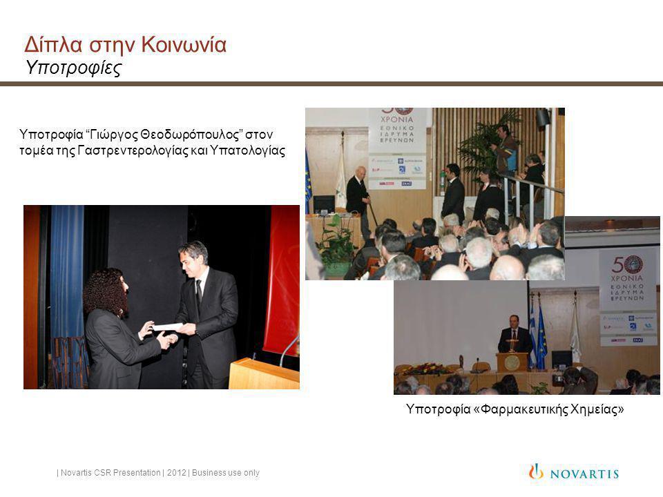 Δίπλα στην Κοινωνία Υποτροφίες Υποτροφία Γιώργος Θεοδωρόπουλος στον τομέα της Γαστρεντερολογίας και Υπατολογίας Υποτροφία «Φαρμακευτικής Χημείας» | Novartis CSR Presentation | 2012 | Business use only