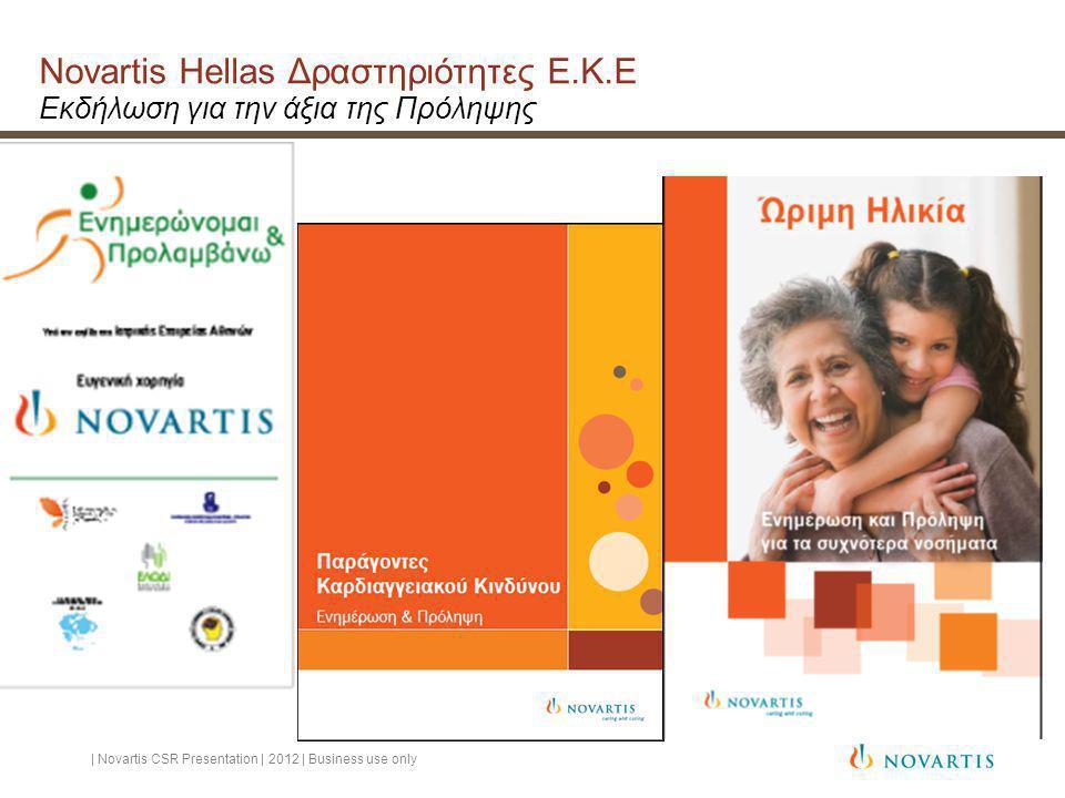 Novartis Hellas Δραστηριότητες Ε.Κ.Ε Εκδήλωση για την άξια της Πρόληψης | Novartis CSR Presentation | 2012 | Business use only