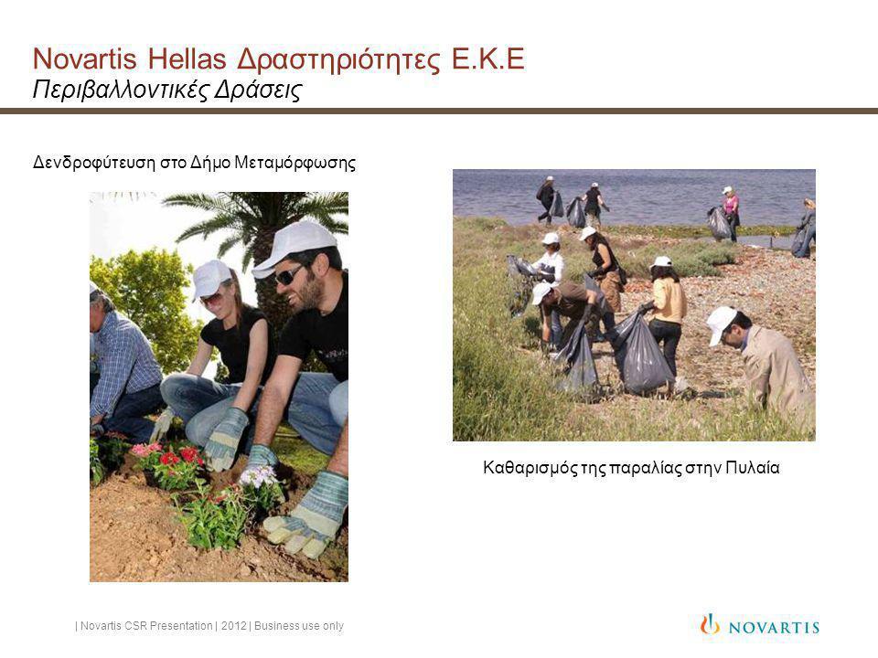 Novartis Hellas Δραστηριότητες Ε.Κ.Ε Περιβαλλοντικές Δράσεις Δενδροφύτευση στο Δήμο Μεταμόρφωσης Καθαρισμός της παραλίας στην Πυλαία | Novartis CSR Presentation | 2012 | Business use only