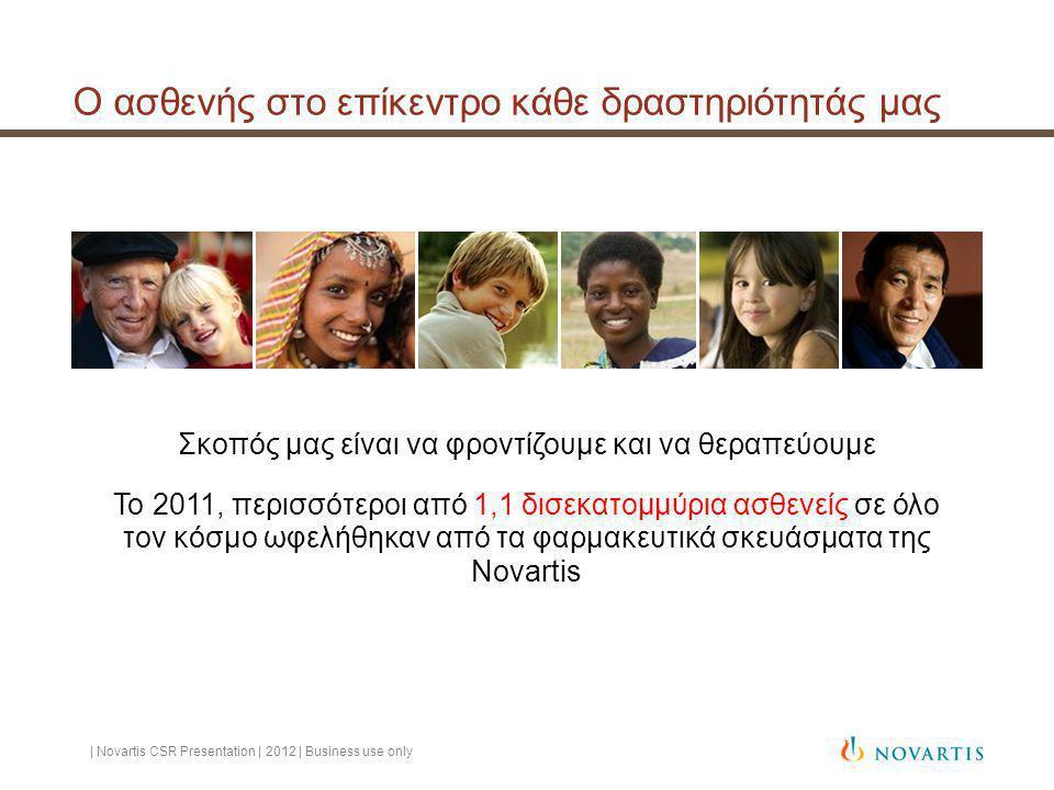 Ο ασθενής στο επίκεντρο κάθε δραστηριότητάς μας | Novartis CSR Presentation | 2012 | Business use only Σκοπός μας είναι να φροντίζουμε και να θεραπεύουμε Το 2011, περισσότεροι από 1,1 δισεκατομμύρια ασθενείς σε όλο τον κόσμο ωφελήθηκαν από τα φαρμακευτικά σκευάσματα της Novartis