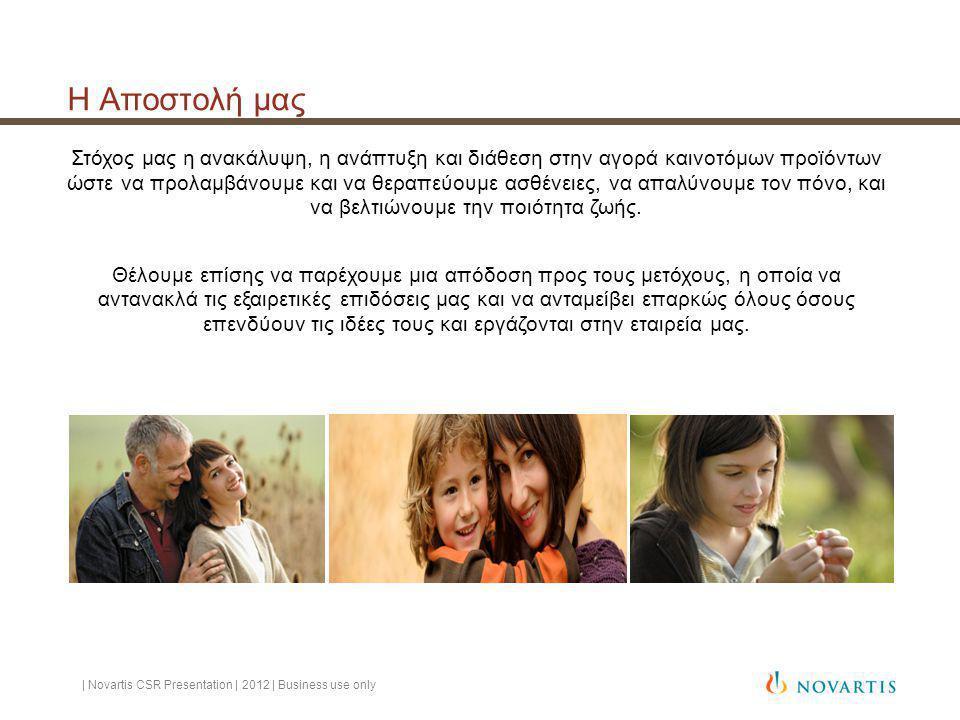 Η Αποστολή μας | Novartis CSR Presentation | 2012 | Business use only Στόχος μας η ανακάλυψη, η ανάπτυξη και διάθεση στην αγορά καινοτόμων προϊόντων ώστε να προλαμβάνουμε και να θεραπεύουμε ασθένειες, να απαλύνουμε τον πόνο, και να βελτιώνουμε την ποιότητα ζωής.