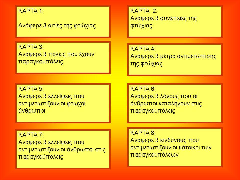 ΚΑΡΤΑ 1: Ανάφερε 3 αιτίες της φτώχιας ΚΑΡΤΑ 3: Ανάφερε 3 πόλεις που έχουν παραγκουπόλεις ΚΑΡΤΑ 5: Ανάφερε 3 ελλείψεις που αντιμετωπίζουν οι φτωχοί άνθρωποι ΚΑΡΤΑ 7: Ανάφερε 3 ελλείψεις που αντιμετωπίζουν οι άνθρωποι στις παραγκούπολεις ΚΑΡΤΑ 8: Ανάφερε 3 κινδύνους που αντιμετωπίζουν οι κάτοικοι των παραγκουπόλεων ΚΑΡΤΑ 6: Ανάφερε 3 λόγους που οι άνθρωποι καταλήγουν στις παραγκουπόλεις ΚΑΡΤΑ 4: Ανάφερε 3 μέτρα αντιμετώπισης της φτώχιας ΚΑΡΤΑ 2: Ανάφερε 3 συνέπειες της φτώχιας
