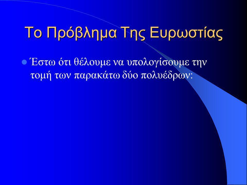 Το Πρόβλημα Της Ευρωστίας Έστω ότι θέλουμε να υπολογίσουμε την τομή των παρακάτω δύο πολυέδρων: