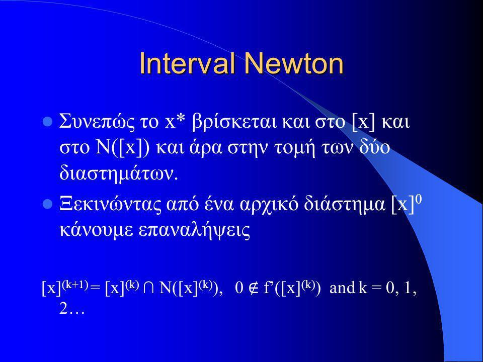 Interval Newton Συνεπώς το x* βρίσκεται και στο [x] και στο N([x]) και άρα στην τομή των δύο διαστημάτων. Ξεκινώντας από ένα αρχικό διάστημα [x] 0 κάν