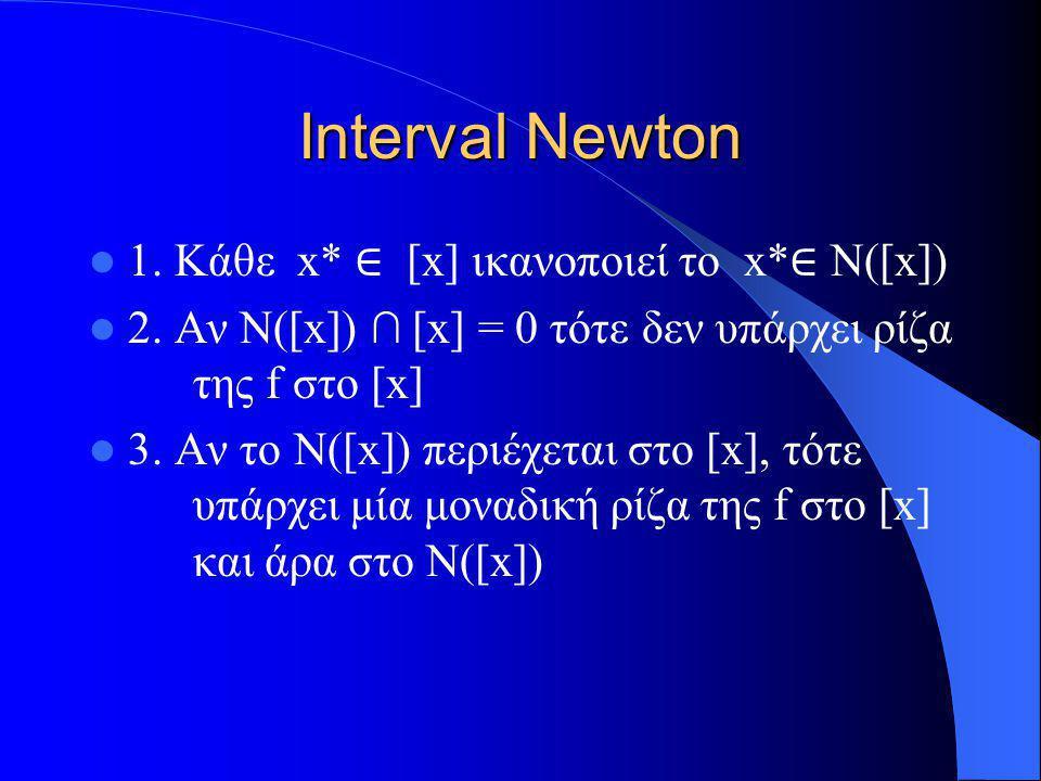 Interval Newton 1. Κάθε x* ∈ [x] ικανοποιεί το x* ∈ N([x]) 2. Αν N([x]) ∩ [x] = 0 τότε δεν υπάρχει ρίζα της f στο [x] 3. Αν το N([x]) περιέχεται στο [