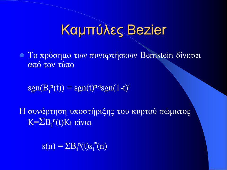 Το πρόσημο των συναρτήσεων Bernstein δίνεται από τον τύπο sgn(B i n (t)) = sgn(t) n-i sgn(1-t) i Η συνάρτηση υποστήριξης του κυρτού σώματος Κ= Σ B i n