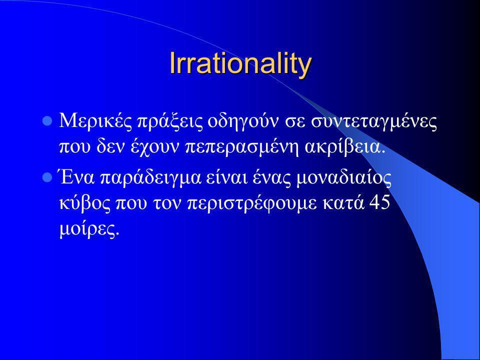 Irrationality Μερικές πράξεις οδηγούν σε συντεταγμένες που δεν έχουν πεπερασμένη ακρίβεια. Ένα παράδειγμα είναι ένας μοναδιαίος κύβος που τον περιστρέ