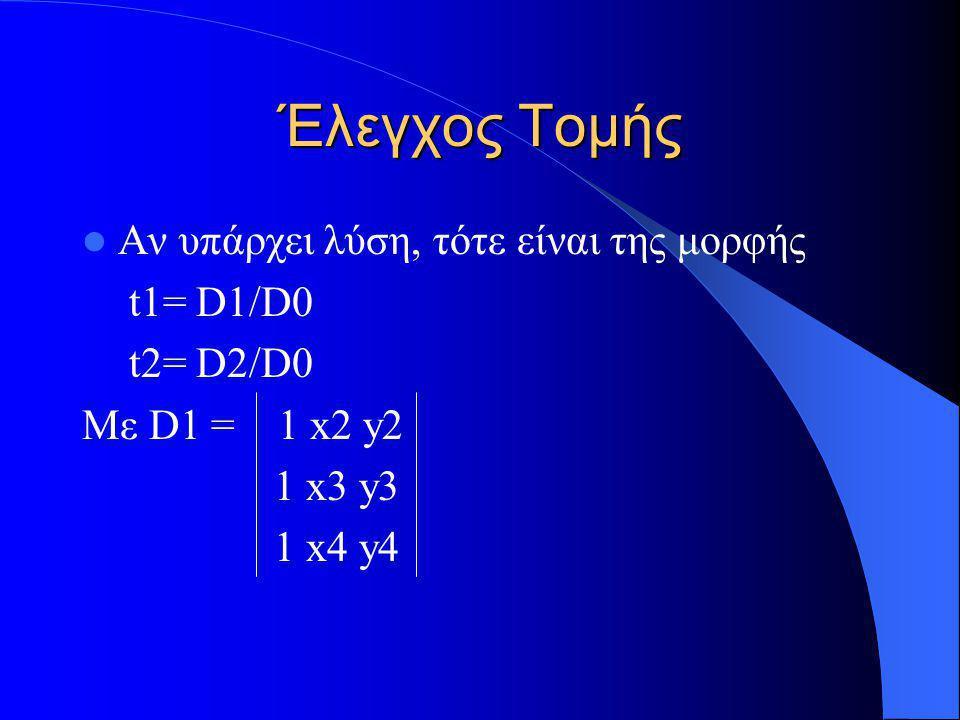 Έλεγχος Τομής Αν υπάρχει λύση, τότε είναι της μορφής t1= D1/D0 t2= D2/D0 Με D1 = 1 x2 y2 1 x3 y3 1 x4 y4