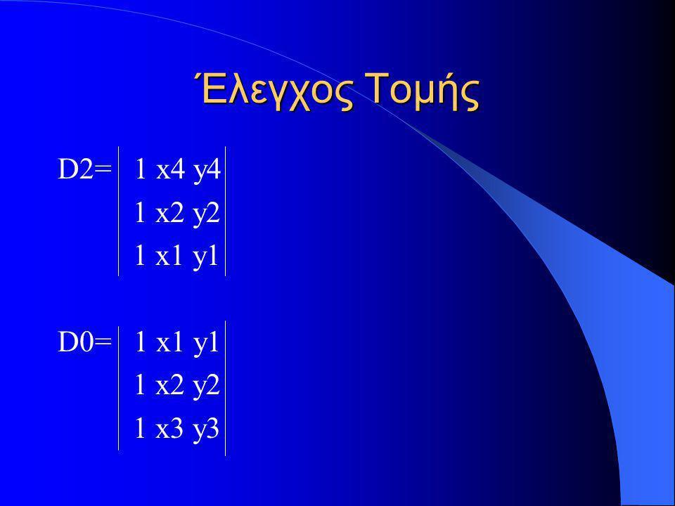 Έλεγχος Τομής D2= 1 x4 y4 1 x2 y2 1 x1 y1 D0= 1 x1 y1 1 x2 y2 1 x3 y3