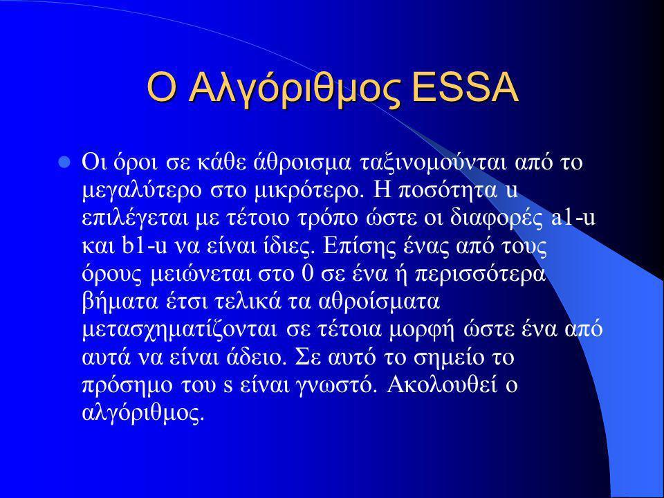 Ο Αλγόριθμος ESSA Οι όροι σε κάθε άθροισμα ταξινομούνται από το μεγαλύτερο στο μικρότερο. Η ποσότητα u επιλέγεται με τέτοιο τρόπο ώστε οι διαφορές a1-
