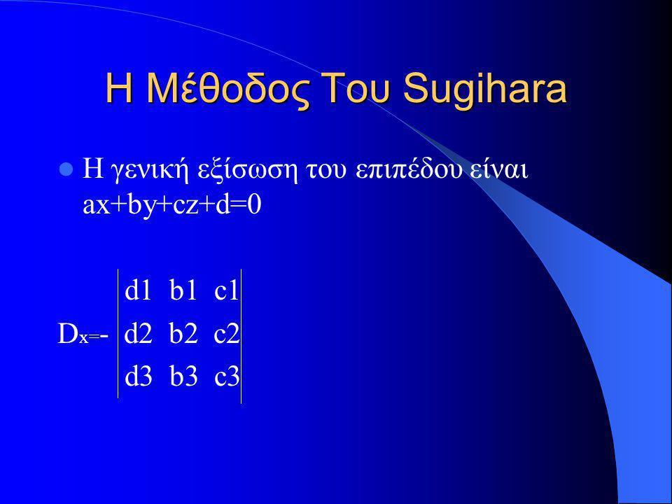 Η Μέθοδος Του Sugihara Η γενική εξίσωση του επιπέδου είναι ax+by+cz+d=0 d1 b1 c1 D x= - d2 b2 c2 d3 b3 c3
