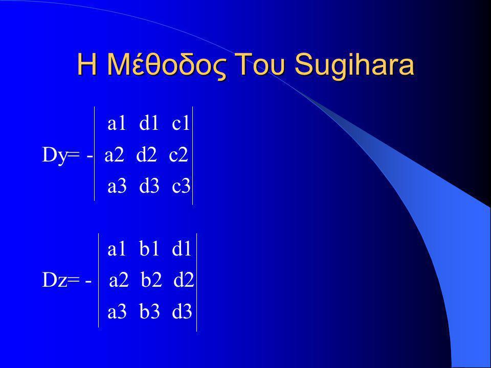 Η Μέθοδος Του Sugihara a1 d1 c1 Dy= - a2 d2 c2 a3 d3 c3 a1 b1 d1 Dz= - a2 b2 d2 a3 b3 d3