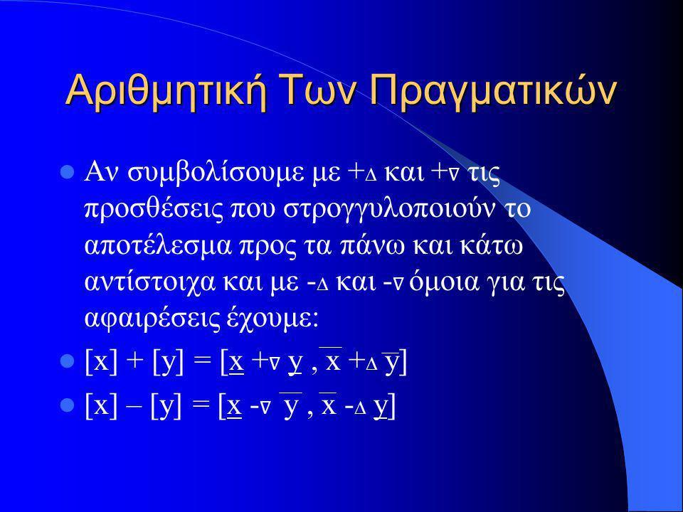 Αριθμητική Των Πραγματικών Αν συμβολίσουμε με + ∆ και + ∇ τις προσθέσεις που στρογγυλοποιούν το αποτέλεσμα προς τα πάνω και κάτω αντίστοιχα και με - ∆